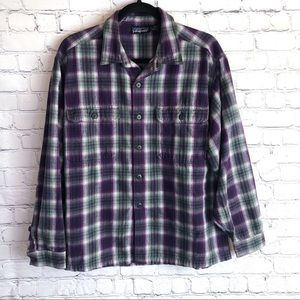 Patagonia Purple and Gray Plaid Button Up Shirt